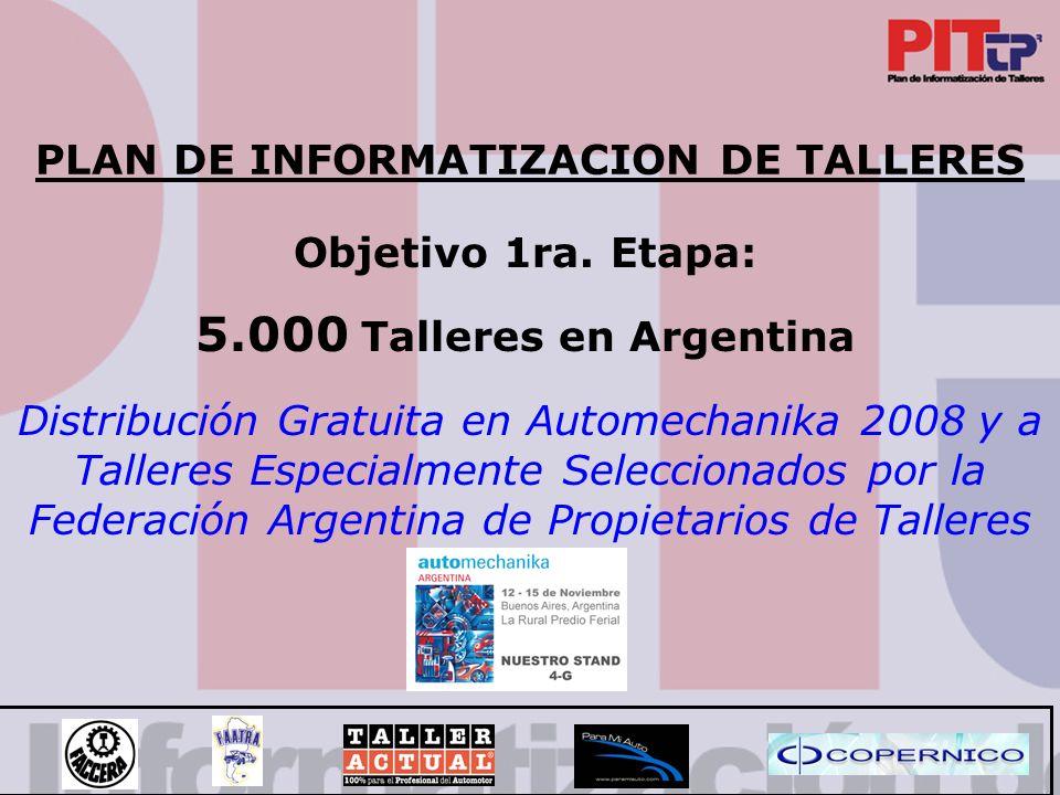 PLAN DE INFORMATIZACION DE TALLERES Distribución Gratuita en Automechanika 2008 y a Talleres Especialmente Seleccionados por la Federación Argentina de Propietarios de Talleres Objetivo 1ra.