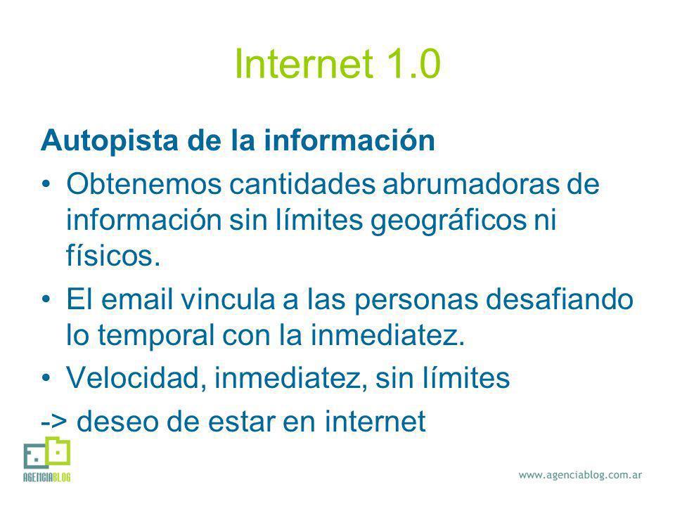 Internet 1.0 Autopista de la información Obtenemos cantidades abrumadoras de información sin límites geográficos ni físicos. El email vincula a las pe