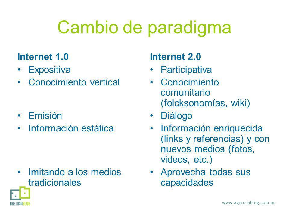 Cambio de paradigma Internet 1.0 Expositiva Conocimiento vertical Emisión Información estática Imitando a los medios tradicionales Internet 2.0 Participativa Conocimiento comunitario (folcksonomías, wiki) Diálogo Información enriquecida (links y referencias) y con nuevos medios (fotos, videos, etc.) Aprovecha todas sus capacidades