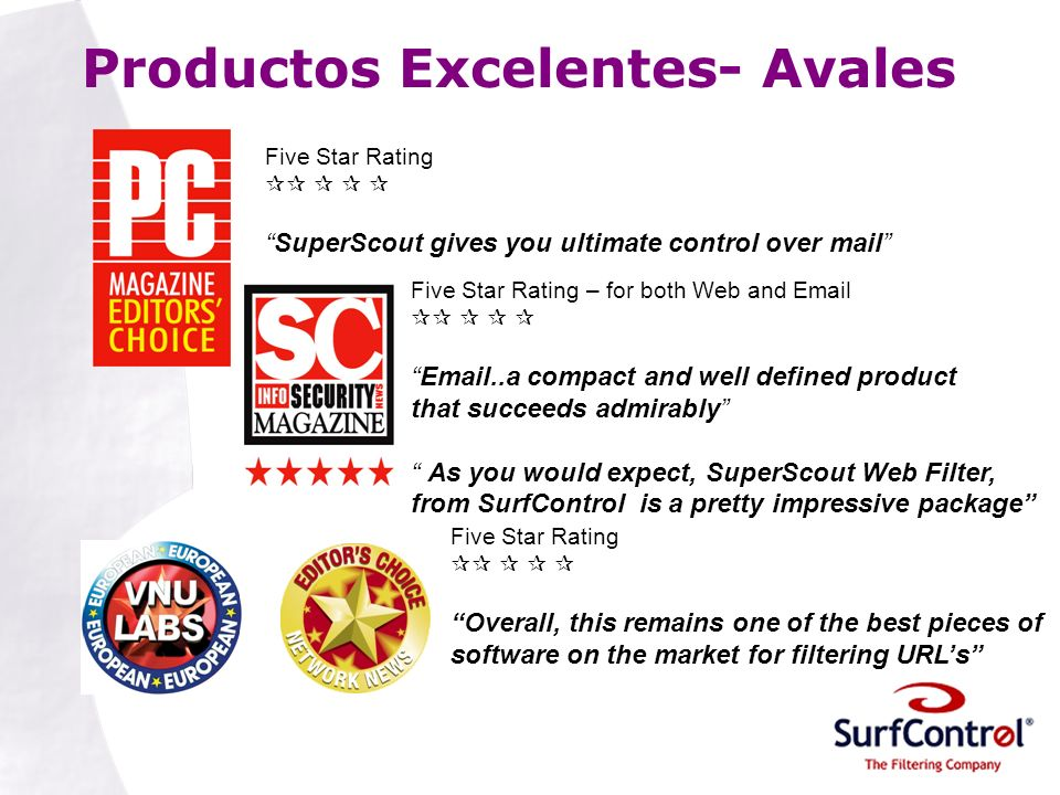 Productos Excelentes- Avales Five Star Rating SuperScout gives you ultimate control over mail Five Star Rating – for both Web and Email Email..a compa
