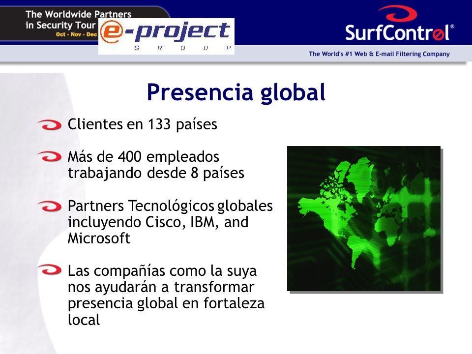 Presencia global Clientes en 133 países Más de 400 empleados trabajando desde 8 países Partners Tecnológicos globales incluyendo Cisco, IBM, and Microsoft Las compañías como la suya nos ayudarán a transformar presencia global en fortaleza local