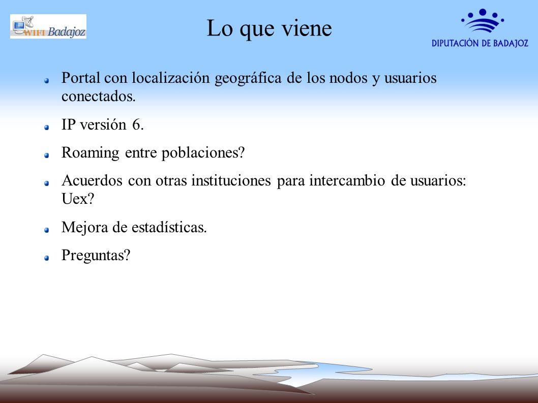 Lo que viene Portal con localización geográfica de los nodos y usuarios conectados. IP versión 6. Roaming entre poblaciones? Acuerdos con otras instit