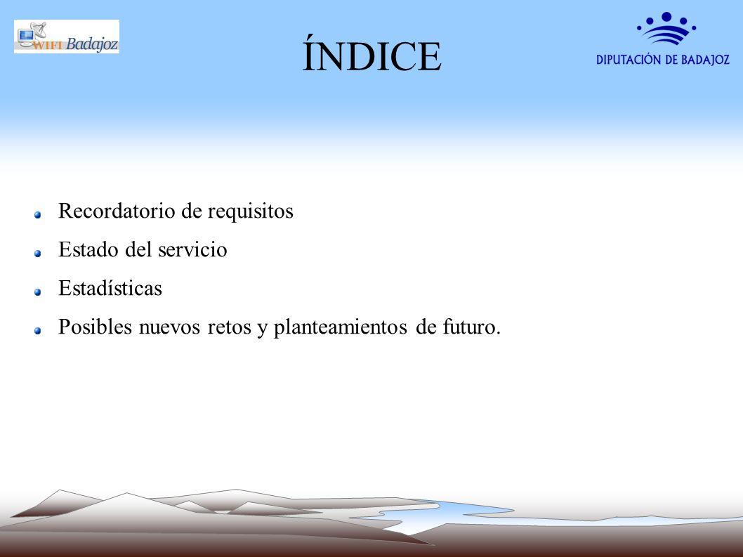 ÍNDICE Recordatorio de requisitos Estado del servicio Estadísticas Posibles nuevos retos y planteamientos de futuro.