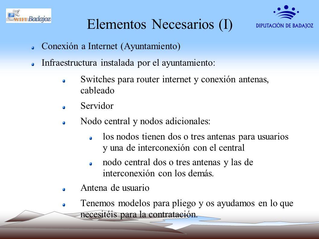 Elementos Necesarios (I) Conexión a Internet (Ayuntamiento) Infraestructura instalada por el ayuntamiento: Switches para router internet y conexión an