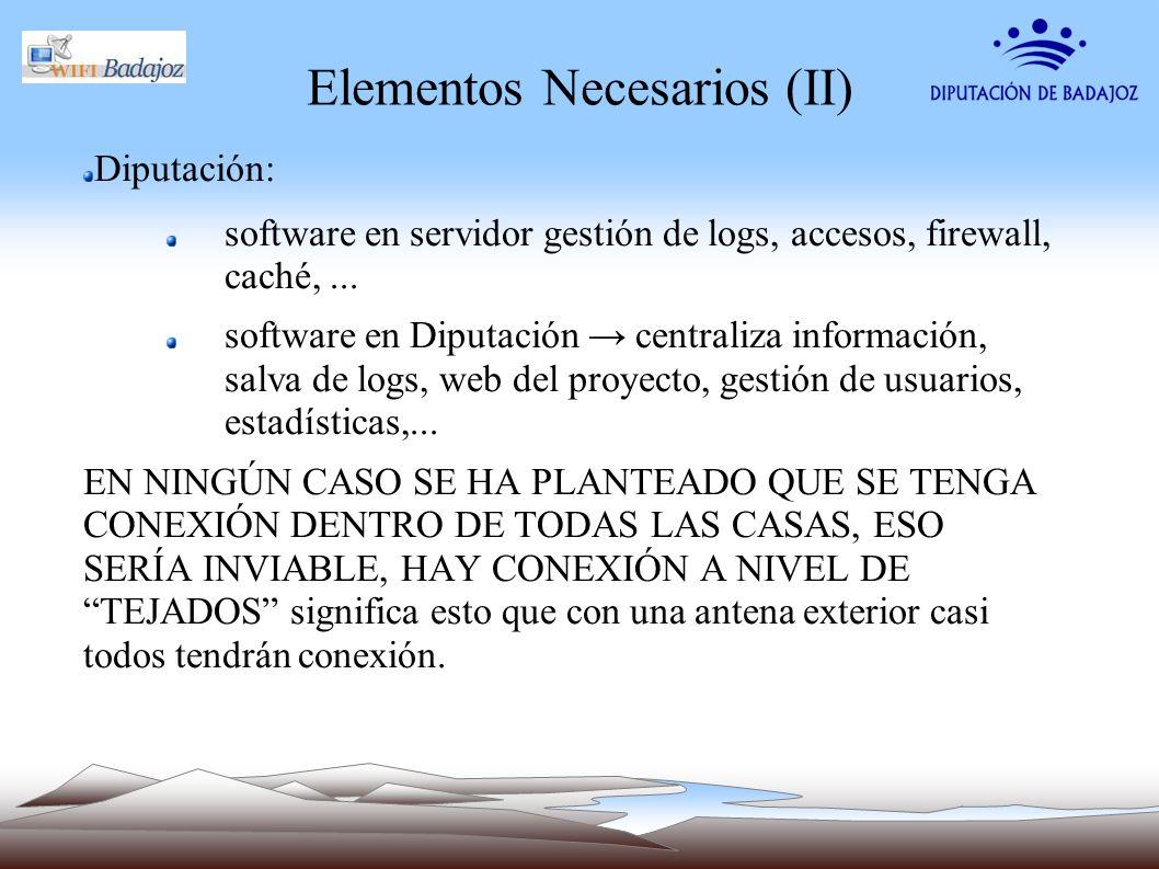 Elementos Necesarios (II) Diputación: software en servidor gestión de logs, accesos, firewall, caché,... software en Diputación centraliza información