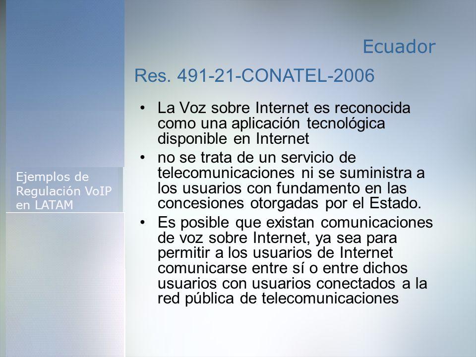 Regulación de la Telefonía en Argentina Características Técnicas de la VoIP Ejemplos de Regulación VoIP en LATAM Aspectos de la regulación VoIP en Arg