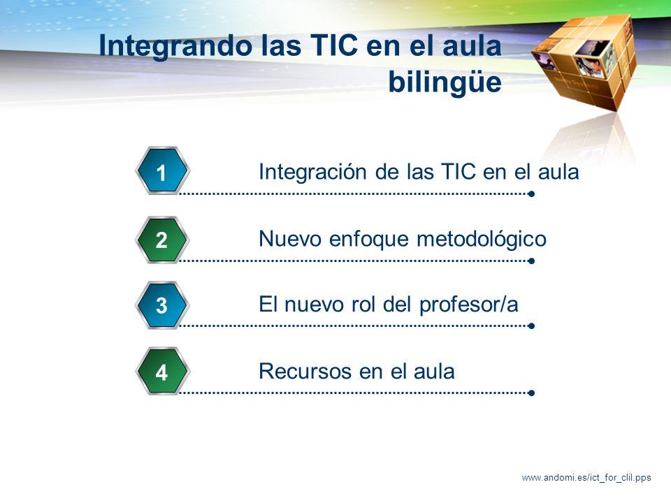 www.andomi.es/ict_for_clil.pps Integrando las TIC en el aula bilingüe Integración de las TIC en el aula 1 Nuevo enfoque metodológico 2 El nuevo rol del profesor/a 3 Recursos en el aula 4