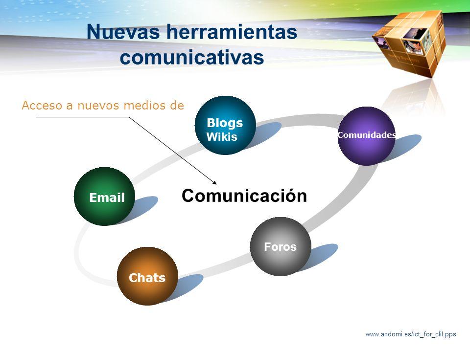 www.andomi.es/ict_for_clil.pps Nuevas herramientas comunicativas Foros Email Blogs Wikis Comunidades Chats Comunicación Acceso a nuevos medios de