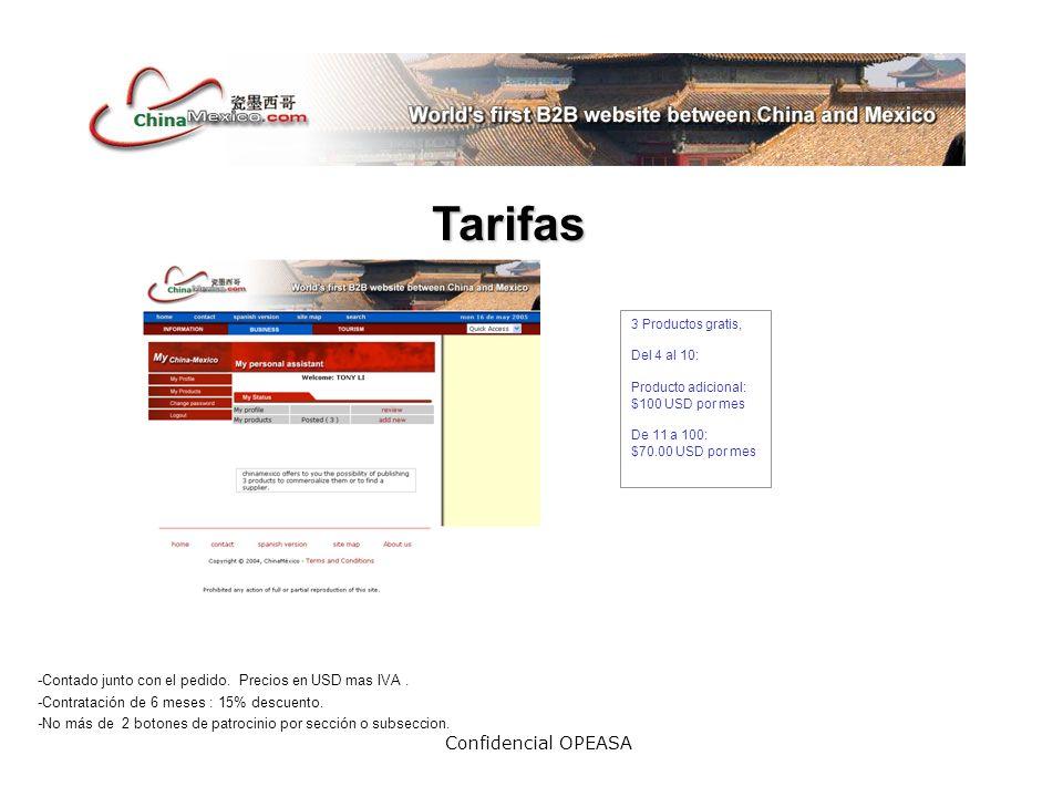 Confidencial OPEASA Tarifas -Contado junto con el pedido.