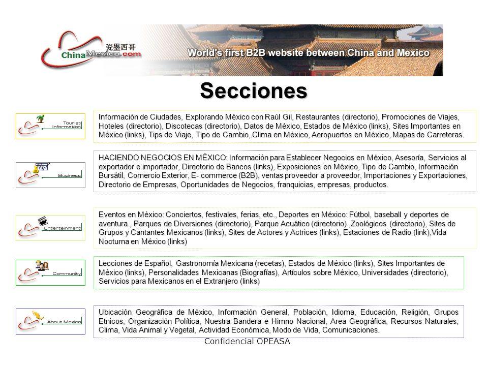 Confidencial OPEASA Secciones Información de Ciudades, Explorando México con Raúl Gil, Restaurantes (directorio), Promociones de Viajes, Hoteles (directorio), Discotecas (directorio), Datos de México, Estados de México (links), Sites Importantes en México (links), Tips de Viaje, Tipo de Cambio, Clima en México, Aeropuertos en México, Mapas de Carreteras.