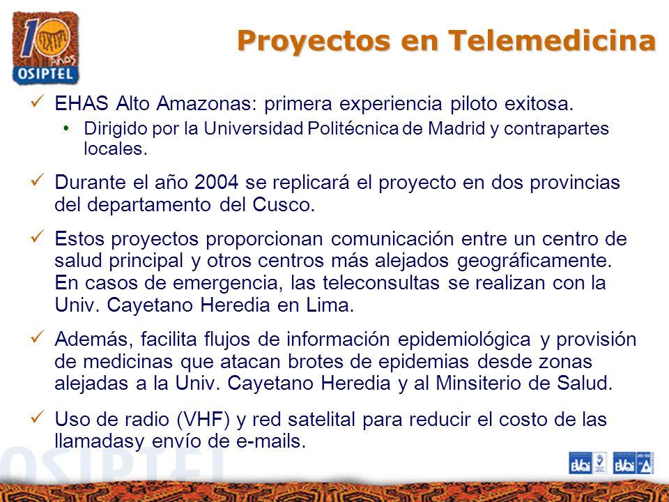 Proyectos en Telemedicina EHAS Alto Amazonas: primera experiencia piloto exitosa. Dirigido por la Universidad Politécnica de Madrid y contrapartes loc