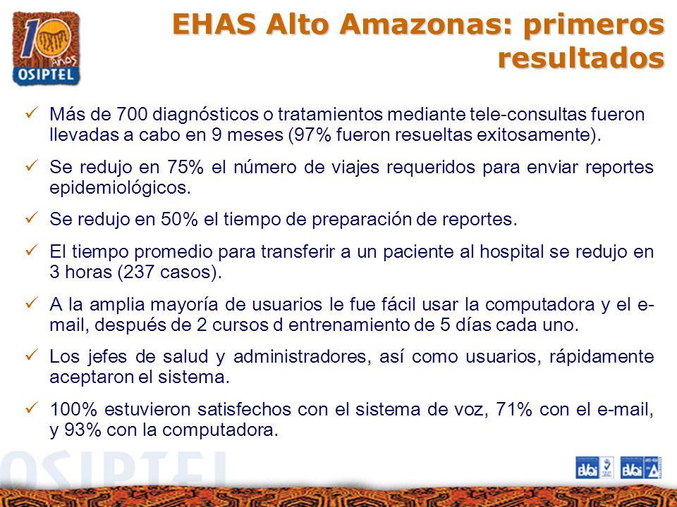 EHAS Alto Amazonas: primeros resultados Más de 700 diagnósticos o tratamientos mediante tele-consultas fueron llevadas a cabo en 9 meses (97% fueron r