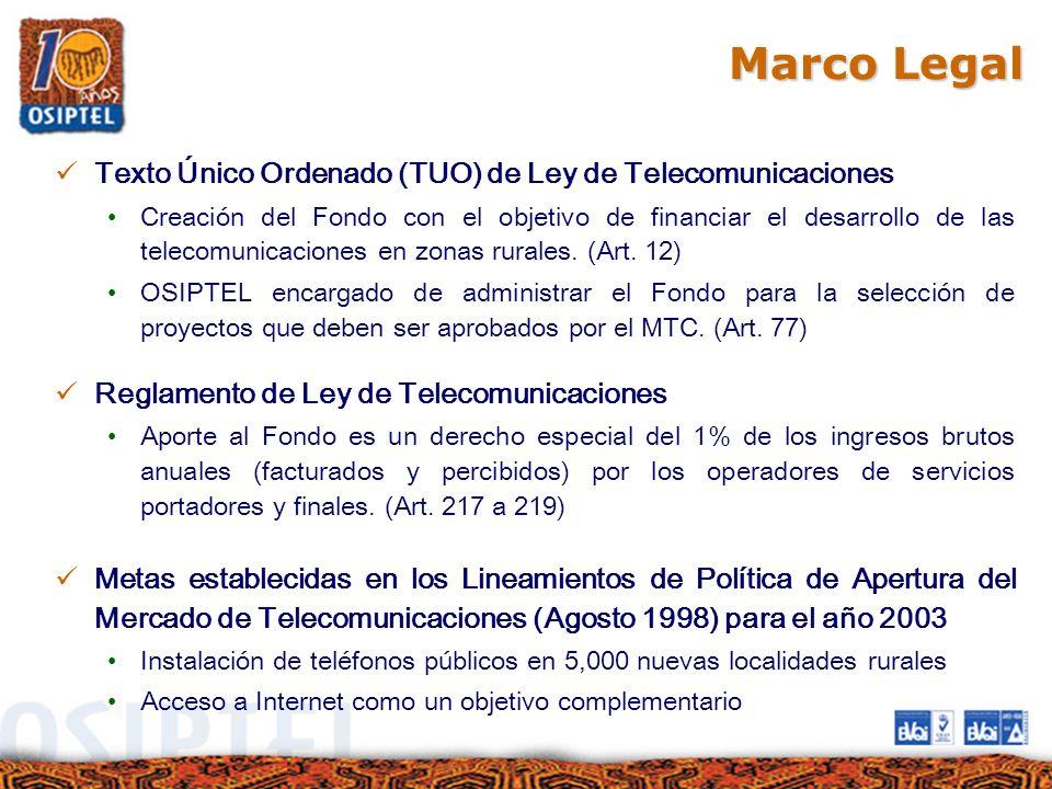 Marco Legal Texto Único Ordenado (TUO) de Ley de Telecomunicaciones Creación del Fondo con el objetivo de financiar el desarrollo de las telecomunicac