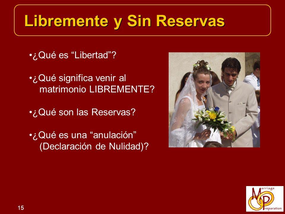15 Libremente y Sin Reservas ¿Qué es Libertad.¿Qué significa venir al matrimonio LIBREMENTE.