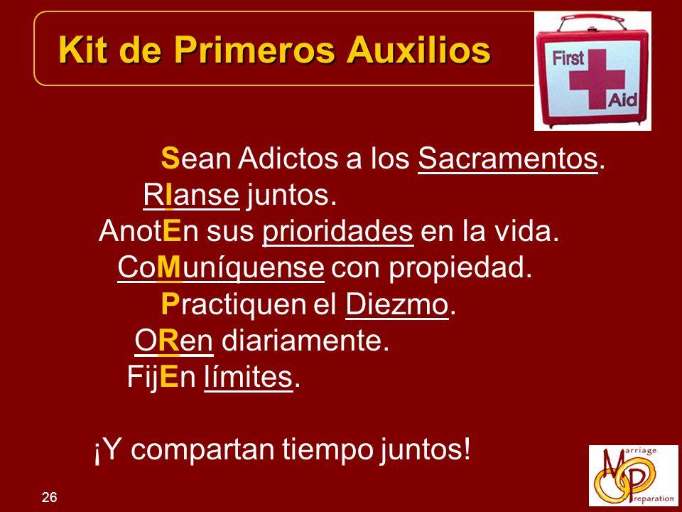 26 Kit de Primeros Auxilios Sean Adictos a los Sacramentos.