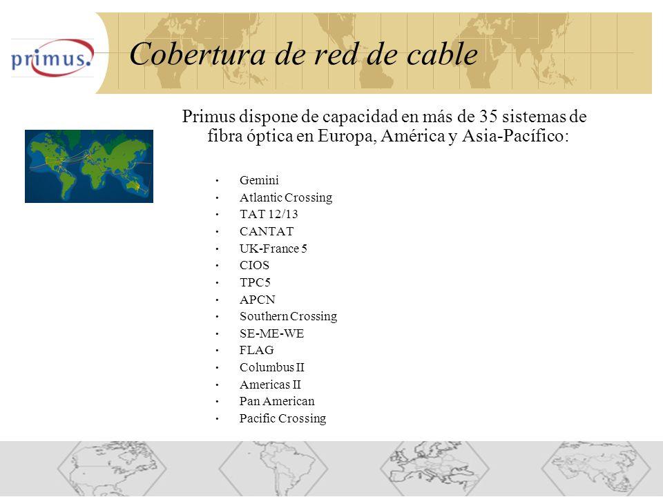 11 Cobertura de red de cable Primus dispone de capacidad en más de 35 sistemas de fibra óptica en Europa, América y Asia-Pacífico: Gemini Atlantic Crossing TAT 12/13 CANTAT UK-France 5 CIOS TPC5 APCN Southern Crossing SE-ME-WE FLAG Columbus II Americas II Pan American Pacific Crossing