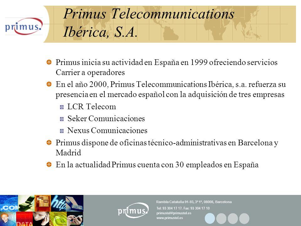 17 Primus Telecommunications Ibérica, S.A. Primus inicia su actividad en España en 1999 ofreciendo servicios Carrier a operadores En el año 2000, Prim