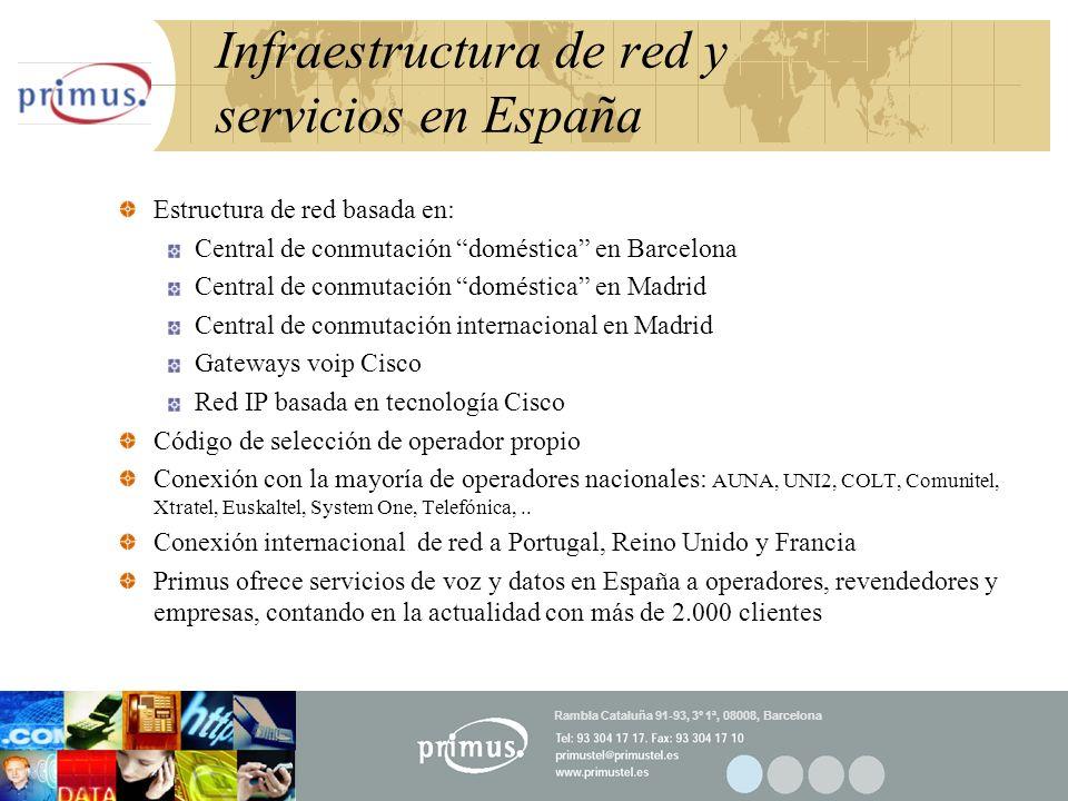 18 Infraestructura de red y servicios en España Estructura de red basada en: Central de conmutación doméstica en Barcelona Central de conmutación domé