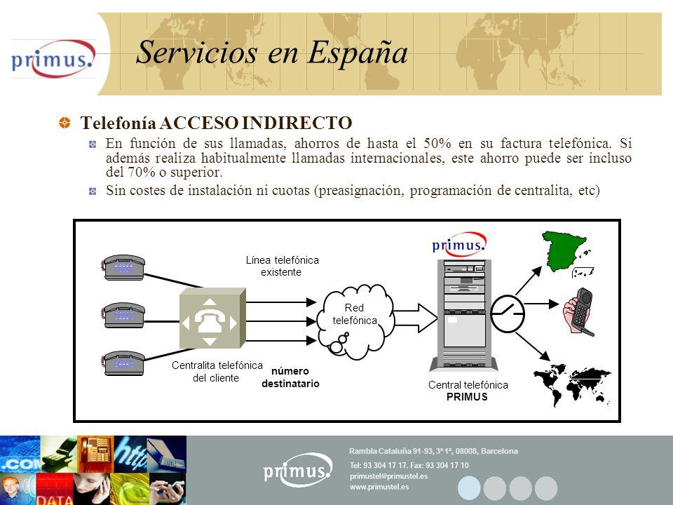 19 Servicios en España Telefonía ACCESO INDIRECTO En función de sus llamadas, ahorros de hasta el 50% en su factura telefónica.