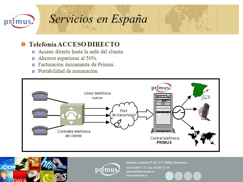 20 Servicios en España Telefonía ACCESO DIRECTO Acceso directo hasta la sede del cliente. Ahorros superiores al 50%. Facturación únicamente de Primus.