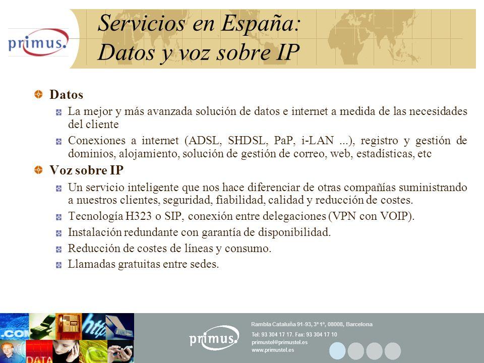 22 Servicios en España: Datos y voz sobre IP Datos La mejor y más avanzada solución de datos e internet a medida de las necesidades del cliente Conexi