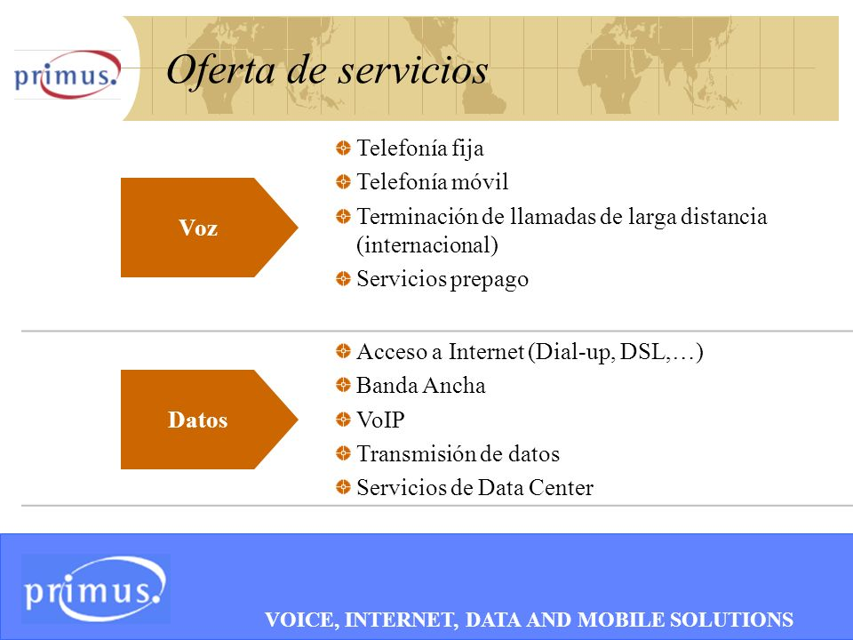 7 Oferta de servicios Telefonía fija Telefonía móvil Terminación de llamadas de larga distancia (internacional) Servicios prepago Acceso a Internet (Dial-up, DSL,…) Banda Ancha VoIP Transmisión de datos Servicios de Data Center Datos Voz VOICE, INTERNET, DATA AND MOBILE SOLUTIONS