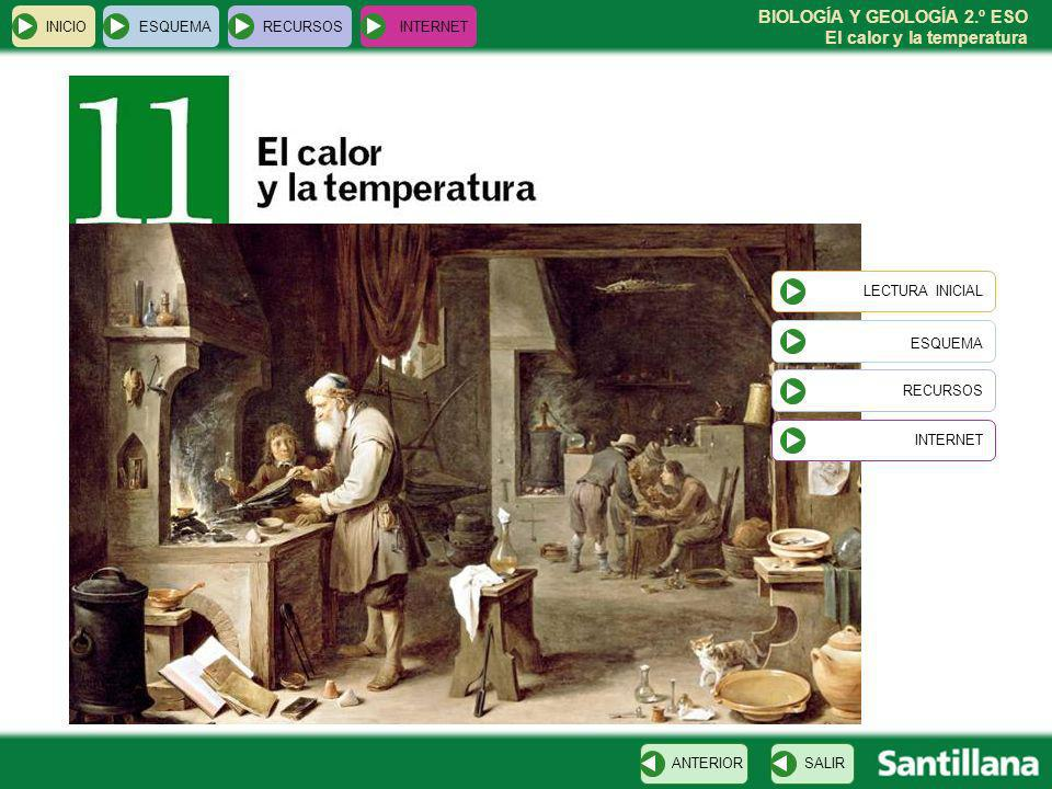 BIOLOGÍA Y GEOLOGÍA 2.º ESO El calor y la temperatura INICIOESQUEMARECURSOSINTERNET LECTURA INICIAL ESQUEMA RECURSOS INTERNETSALIRANTERIOR