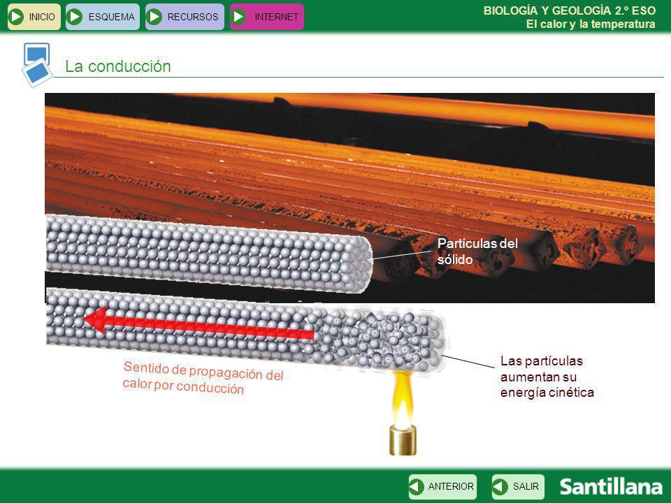 BIOLOGÍA Y GEOLOGÍA 2.º ESO El calor y la temperatura La conducción INICIOESQUEMARECURSOSINTERNET SALIRANTERIOR Sentido de propagación del calor por c