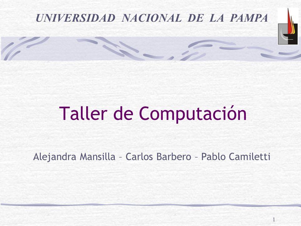 1 Taller de Computación UNIVERSIDAD NACIONAL DE LA PAMPA Alejandra Mansilla – Carlos Barbero – Pablo Camiletti