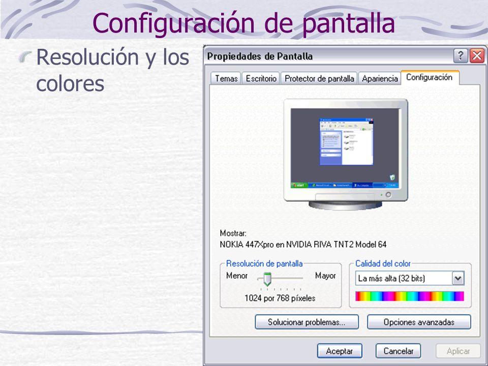 12 Configuración de pantalla Resolución y los colores
