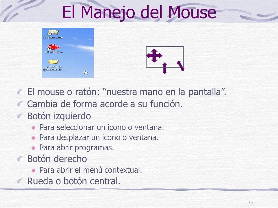 17 El Manejo del Mouse El mouse o ratón: nuestra mano en la pantalla.
