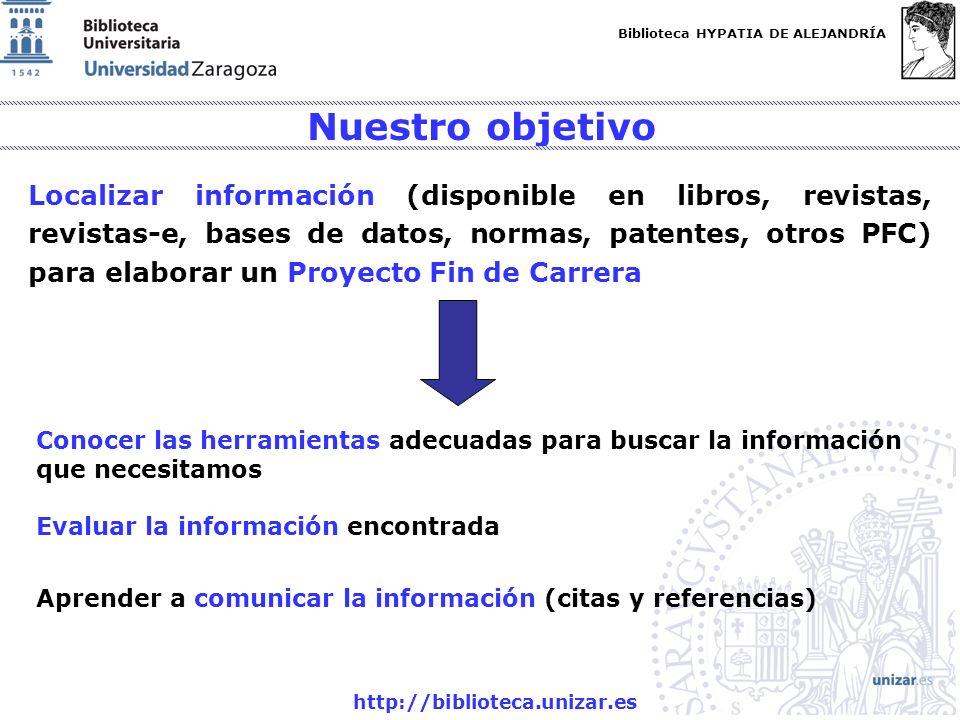Biblioteca HYPATIA DE ALEJANDRÍA http://biblioteca.unizar.es Nuestro objetivo Localizar información (disponible en libros, revistas, revistas-e, bases