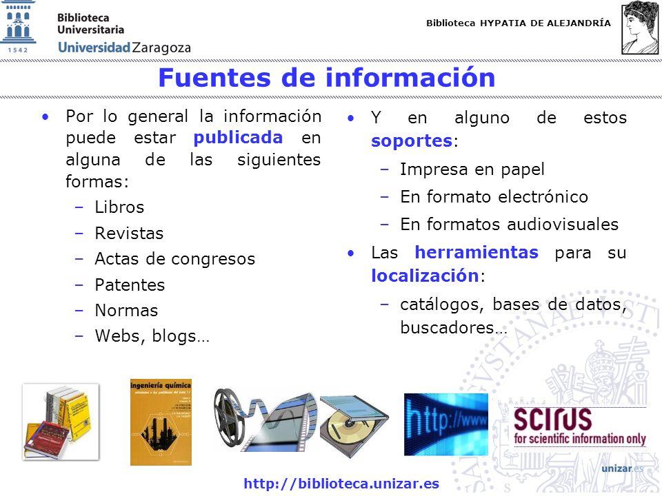 Biblioteca HYPATIA DE ALEJANDRÍA http://biblioteca.unizar.es Fuentes de información Por lo general la información puede estar publicada en alguna de las siguientes formas: –Libros –Revistas –Actas de congresos –Patentes –Normas –Webs, blogs… Y en alguno de estos soportes: –Impresa en papel –En formato electrónico –En formatos audiovisuales Las herramientas para su localización: –catálogos, bases de datos, buscadores…