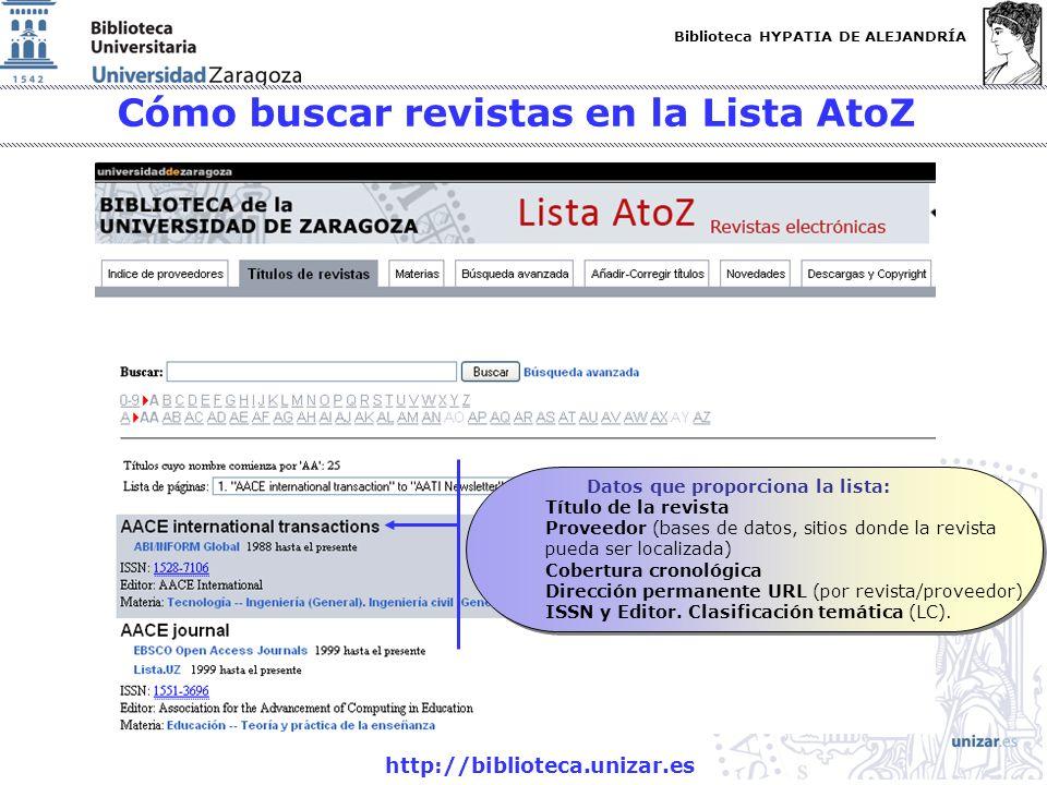 Biblioteca HYPATIA DE ALEJANDRÍA http://biblioteca.unizar.es Cómo buscar revistas en la Lista AtoZ Datos que proporciona la lista: Título de la revist