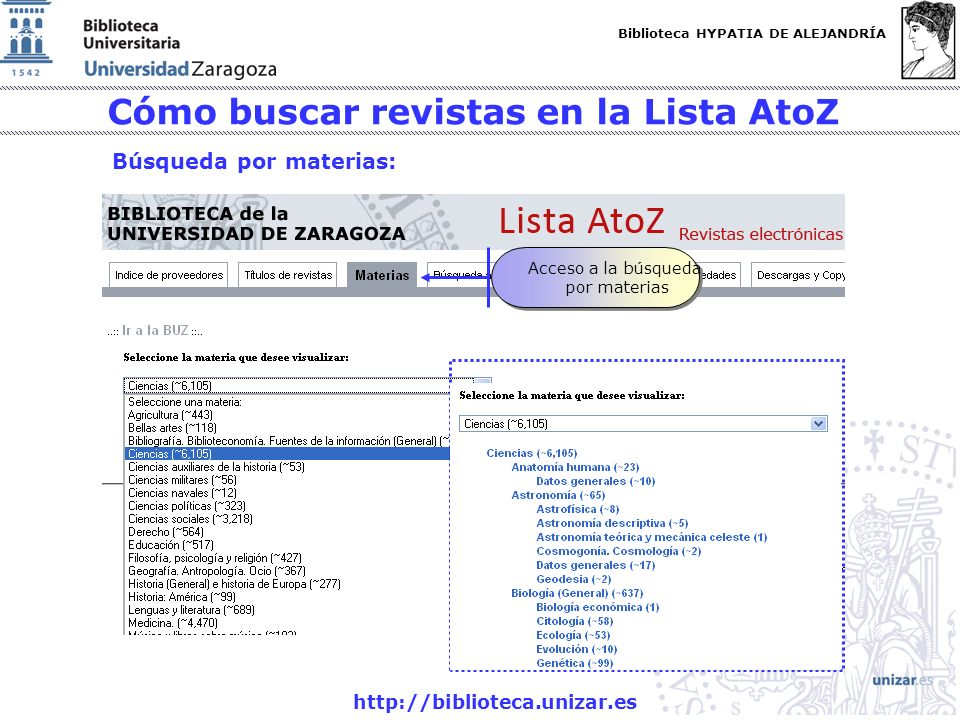Biblioteca HYPATIA DE ALEJANDRÍA http://biblioteca.unizar.es Cómo buscar revistas en la Lista AtoZ Búsqueda por materias: Acceso a la búsqueda por mat