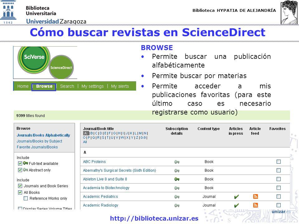 Biblioteca HYPATIA DE ALEJANDRÍA http://biblioteca.unizar.es Cómo buscar revistas en ScienceDirect Permite buscar una publicación alfabéticamente Perm