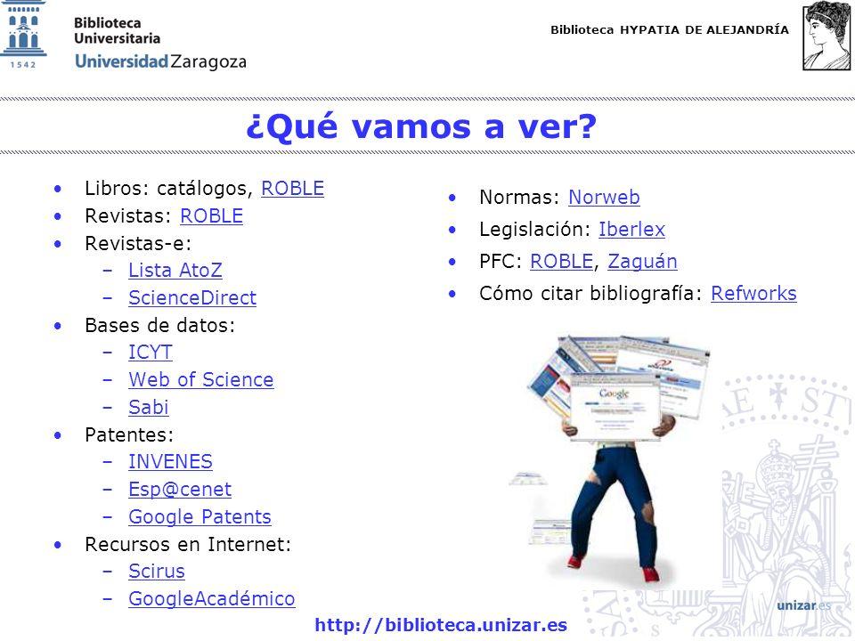 Biblioteca HYPATIA DE ALEJANDRÍA http://biblioteca.unizar.es ¿Qué vamos a ver? Libros: catálogos, ROBLEROBLE Revistas: ROBLEROBLE Revistas-e: –Lista A