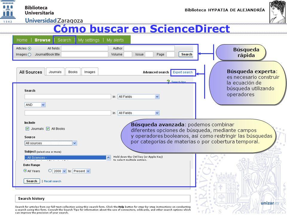 Biblioteca HYPATIA DE ALEJANDRÍA http://biblioteca.unizar.es Cómo buscar en ScienceDirect Búsqueda rápida Búsqueda experta: es necesario construir la