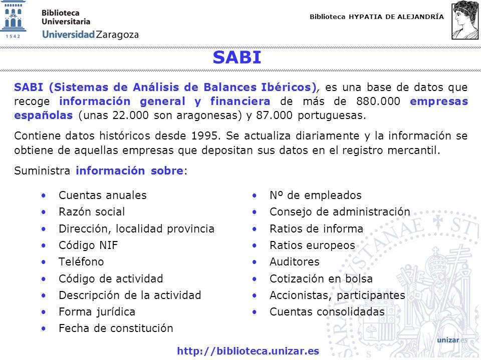 Biblioteca HYPATIA DE ALEJANDRÍA http://biblioteca.unizar.es SABI Cuentas anuales Razón social Dirección, localidad provincia Código NIF Teléfono Códi
