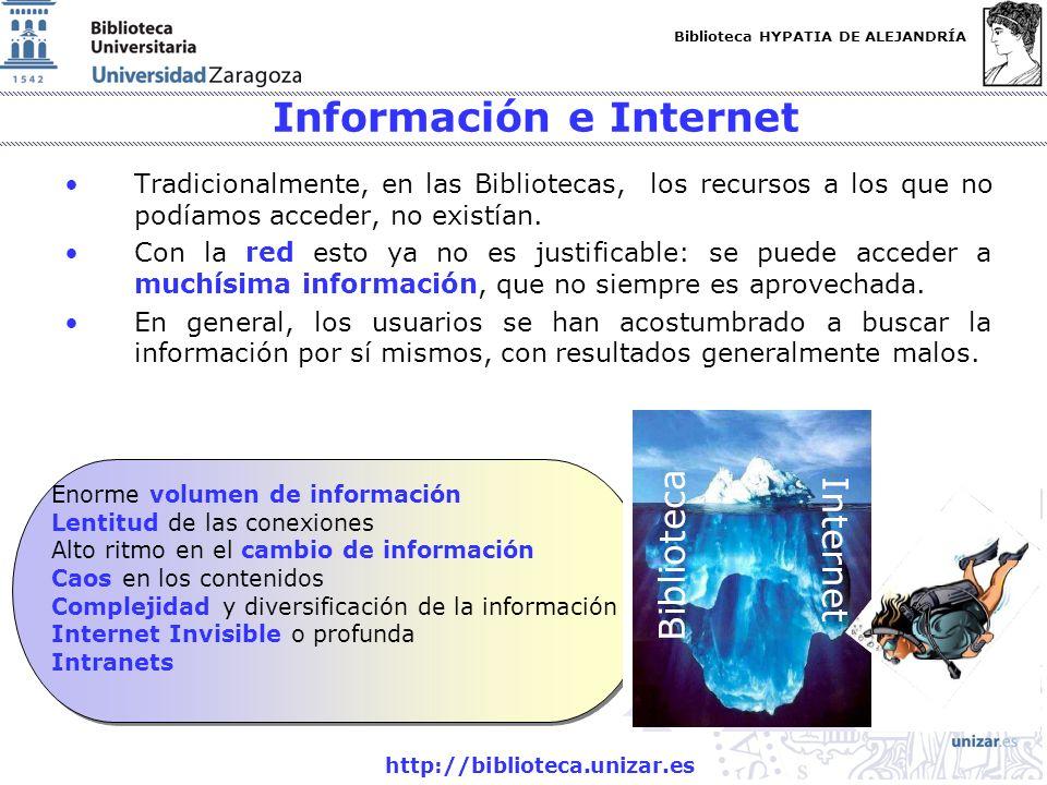 Biblioteca HYPATIA DE ALEJANDRÍA http://biblioteca.unizar.es Información e Internet Tradicionalmente, en las Bibliotecas, los recursos a los que no po
