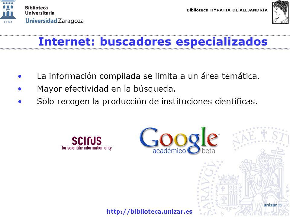 Biblioteca HYPATIA DE ALEJANDRÍA http://biblioteca.unizar.es Internet: buscadores especializados La información compilada se limita a un área temática