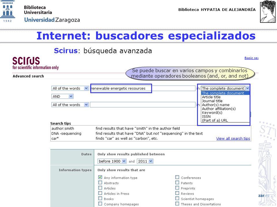 Biblioteca HYPATIA DE ALEJANDRÍA http://biblioteca.unizar.es Se puede buscar en varios campos y combinarlos mediante operadores booleanos (and, or, an