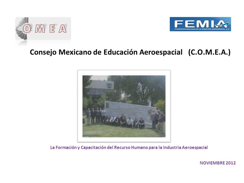 Consejo Mexicano de Educación Aeroespacial (C.O.M.E.A.) NOVIEMBRE 2012 La Formación y Capacitación del Recurso Humano para la Industria Aeroespacial