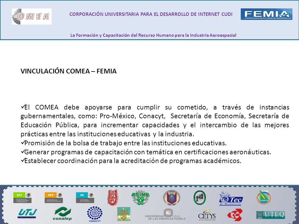 VINCULACIÓN COMEA – FEMIA El COMEA debe apoyarse para cumplir su cometido, a través de instancias gubernamentales, como: Pro-México, Conacyt, Secretar