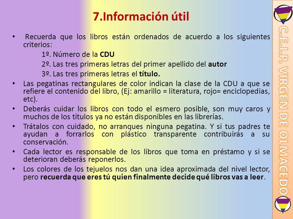 7.Información útil Recuerda que los libros están ordenados de acuerdo a los siguientes criterios: 1º. Número de la CDU 2º. Las tres primeras letras de