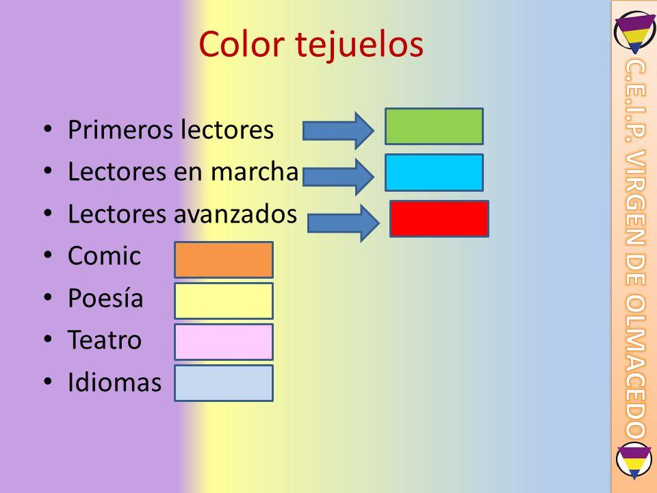 Color tejuelos Primeros lectores Lectores en marcha Lectores avanzados Comic Poesía Teatro Idiomas