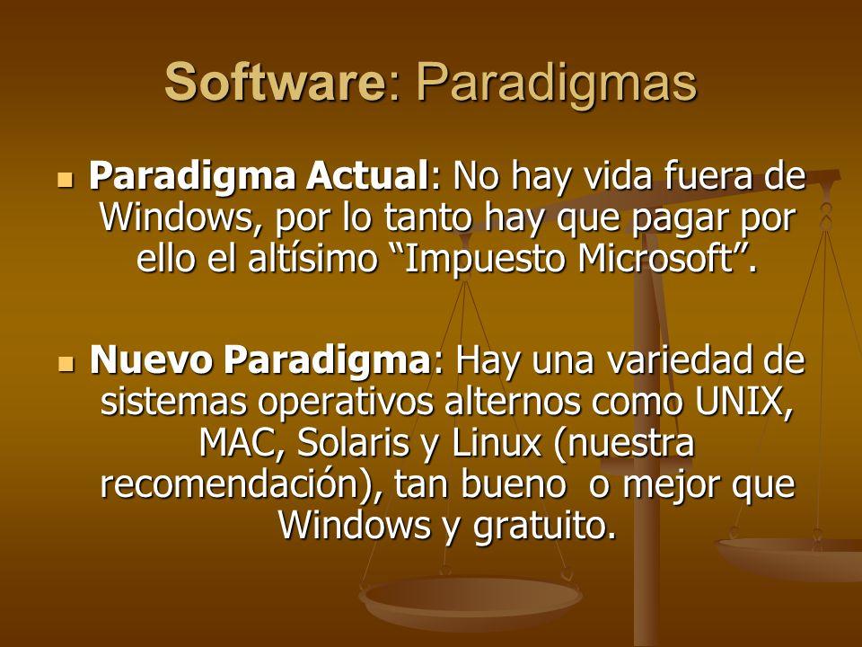 Software: Paradigmas Paradigma Actual: No hay vida fuera de Windows, por lo tanto hay que pagar por ello el altísimo Impuesto Microsoft. Paradigma Act
