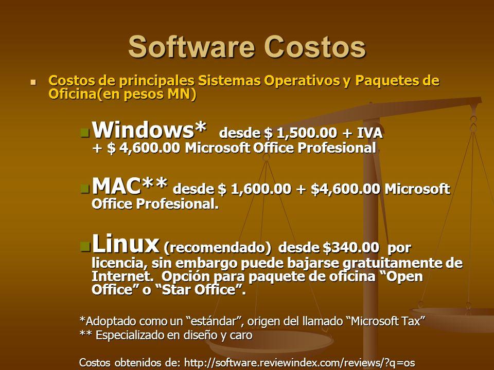 Software Costos Costos de principales Sistemas Operativos y Paquetes de Oficina(en pesos MN) Costos de principales Sistemas Operativos y Paquetes de Oficina(en pesos MN) Windows* desde $ 1,500.00 + IVA + $ 4,600.00 Microsoft Office Profesional Windows* desde $ 1,500.00 + IVA + $ 4,600.00 Microsoft Office Profesional MAC** desde $ 1,600.00 + $4,600.00 Microsoft Office Profesional.