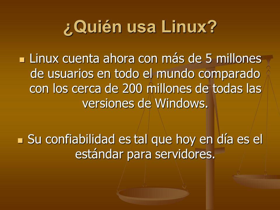 ¿Quién usa Linux? Linux cuenta ahora con más de 5 millones de usuarios en todo el mundo comparado con los cerca de 200 millones de todas las versiones