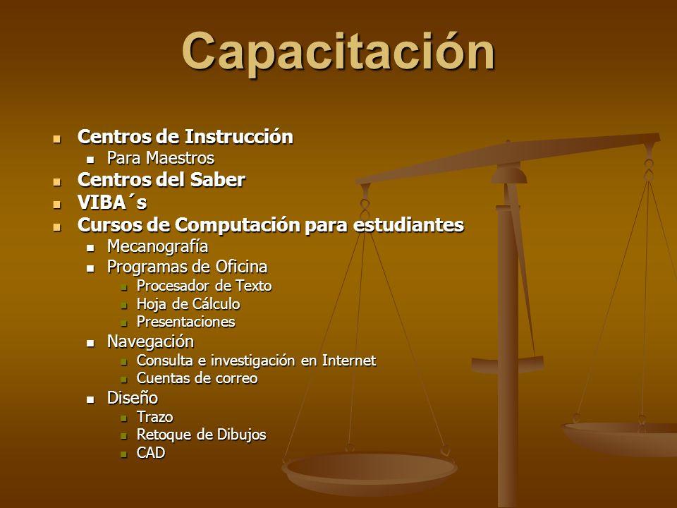 Capacitación Centros de Instrucción Centros de Instrucción Para Maestros Para Maestros Centros del Saber Centros del Saber VIBA´s VIBA´s Cursos de Com